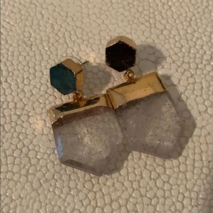 Gold dipped crystal point earrings. Small/medium.